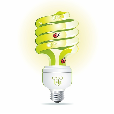 small lamp: Green bulb with drops of water and a ladybird. Eco symbol. Illustration