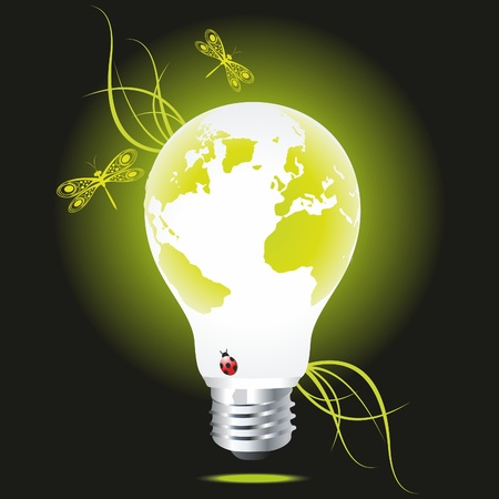 Bulb as the green globe with a grass and dragonflies. An ecological symbol. Vector