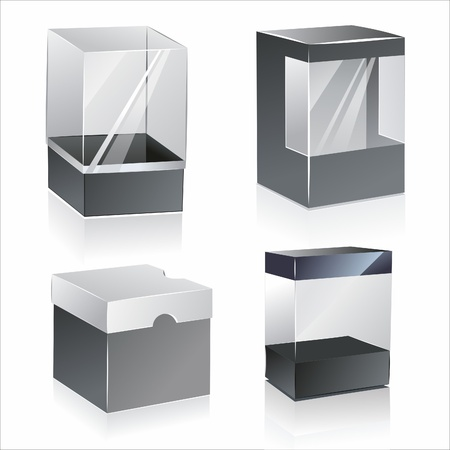 product display:  boxes with transparent plastic window. isolated over white background