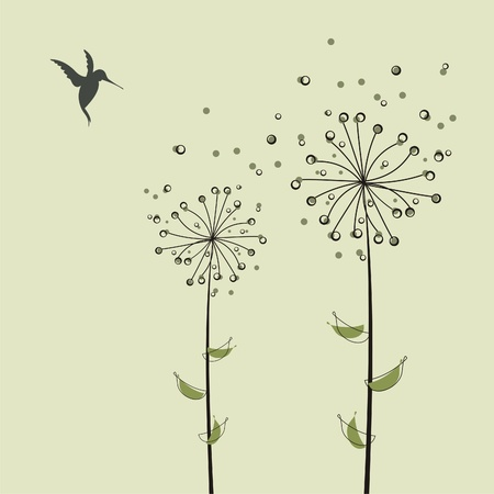 The gentle dandelions in the wind .Vector illustration. Vector