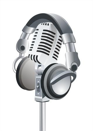 microfono radio: En el aire! Auriculares profesionales de micr�fono & DJ Retro