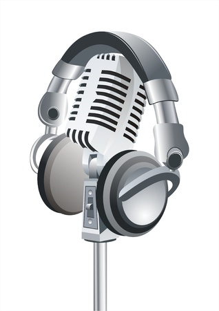 On The Air!! Professional Retro Microphone & DJ Headphones  Illustration