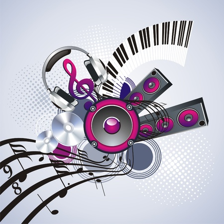 notes musicales: Banni�res d�cor�e de symboles musicaux et des �l�ments de grunge Illustration