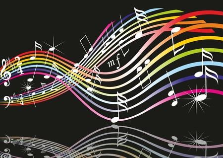Noten auf Notensysteme. Vektor-Musik-Hintergrund.