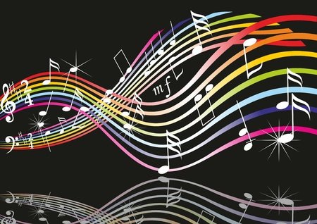 music notes vector: Music notes on staves. Vector music background.