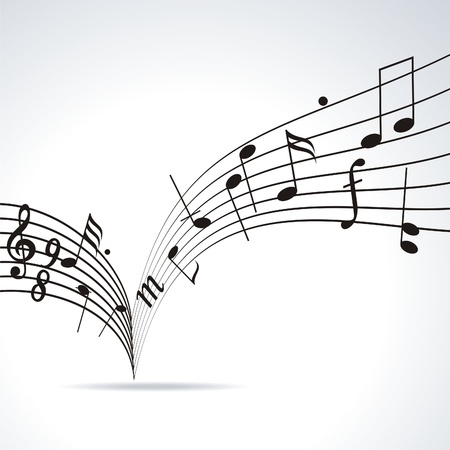 wave sound: Music notes on staves. Vector music background.