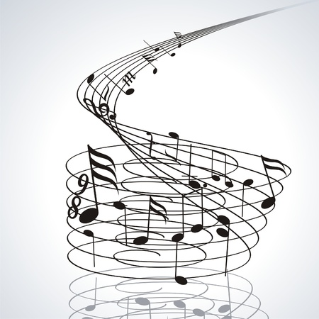 sound wave: Music notes on staves. Vector music background.