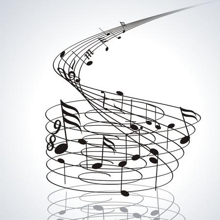geluid: Muziek noten op notenbalken. Vector muziek achtergrond. Stock Illustratie