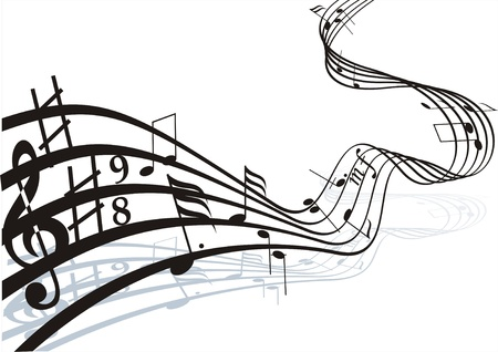 Music notes on staves. Vector music background. Vector
