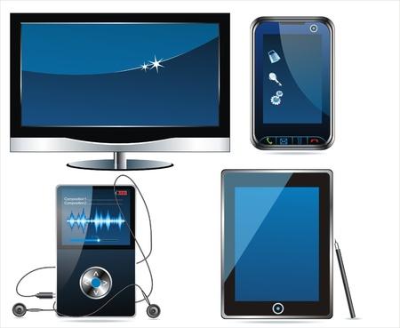 Concept electronic set . Media icon set. Vector Vektoros illusztráció