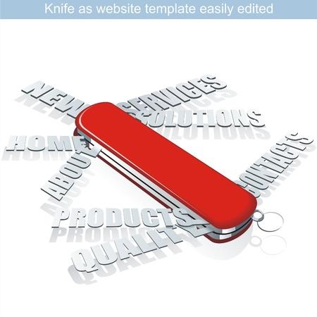 web site design: Vector web site design template . Knife as webpage. Illustration