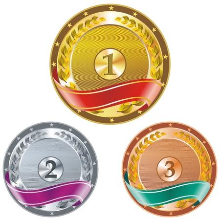 primer lugar: Tres detallan vector medallas con espacio para sus textos o imágenes - oro, plata y bronce