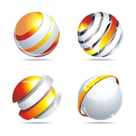 Glossy colorful abstract glass balls. EPS10 file. Stock Vector - 10307616