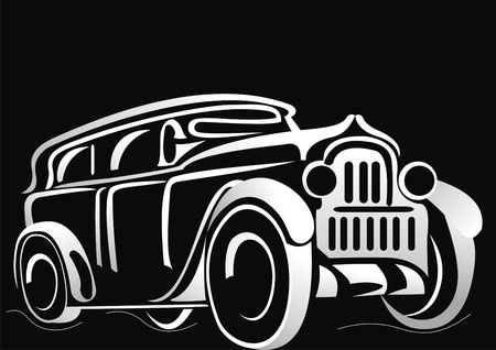 classic car: Car. Silhouette of the old car on a black background.