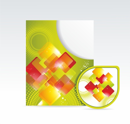 bright folder and sticker with abstrackt pattern