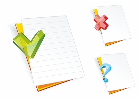 export import: Folder icons.Folders with clean sheets of a paper and glass signs.