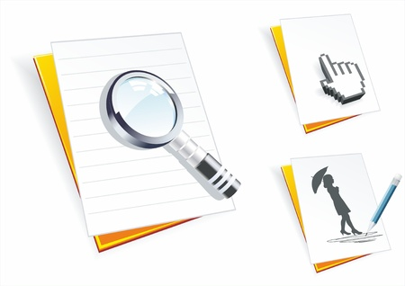 export import: Folders with paper clean sheets, a magnifier, the cursor and pencil drawing. Illustration