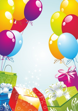 ballons: Star shining fancy gift. Opening magic box. Illustration