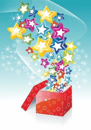 new year gifts: Star shining fancy gift. Opening magic box. Illustration