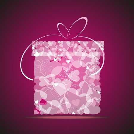 Gift from transparent gentle pink hearts. Vector