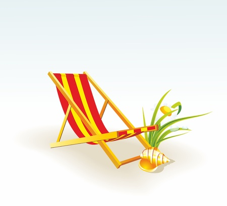 chaise longue: Vector illustration of a beach chair with cockleshel.  Illustration