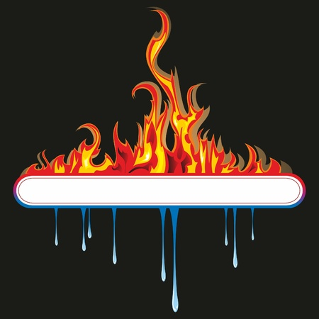 Een helder blauwe en gele bol cirkel, die de elementen vuur en water. Vector Illustratie