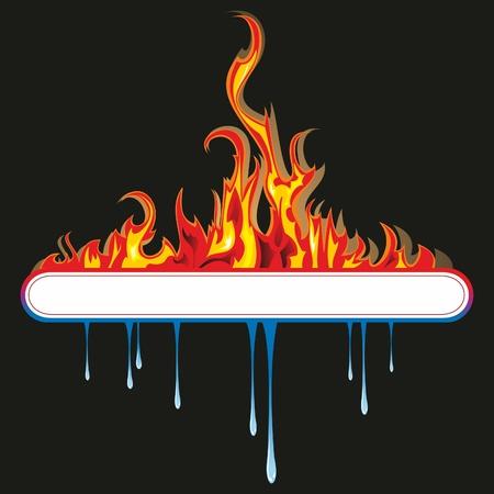 Un círculo de orbe azul y amarillo brillante que representa los elementos de fuego y agua.  Ilustración de vector