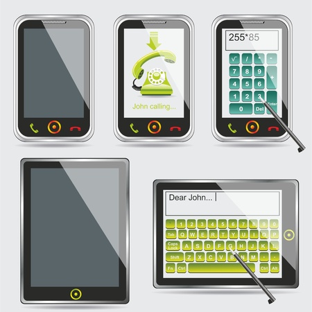 tablet PC and smartphone  isolated on white reflective background Stock Vector - 10330590