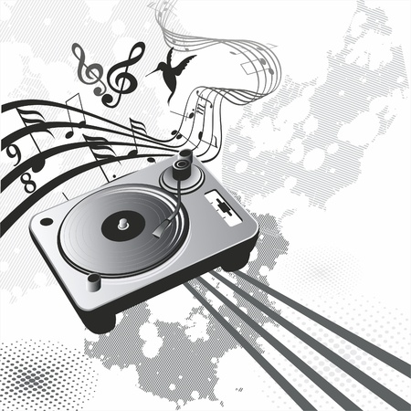 60s: retro music concept with vintage phonograph and colorful handdrawn swirls  Illustration