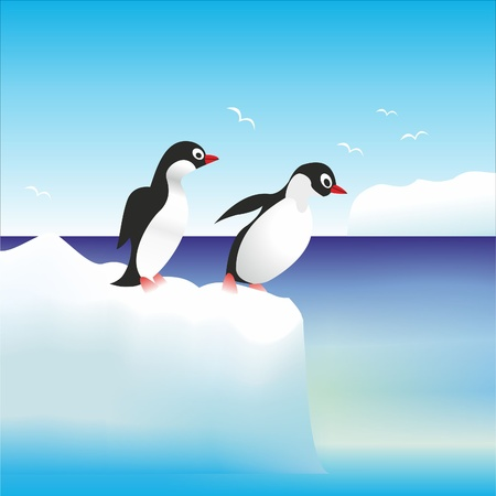 penguins have fun standing on the rocks in Antarctica  Stock Vector - 10330585
