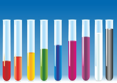 equipment experiment: vector test tubes with different colors liquid. Illustration