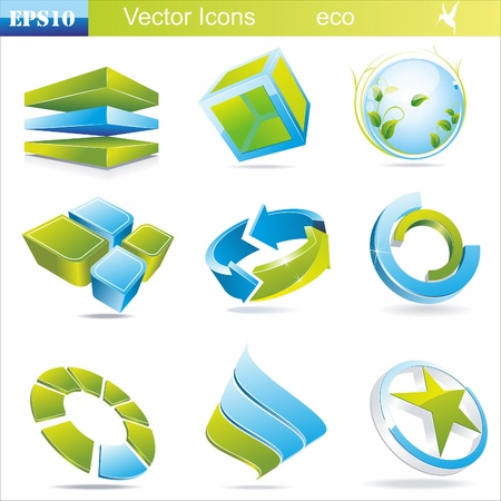 Eco related symbols and icons in green and blue colors Illustration