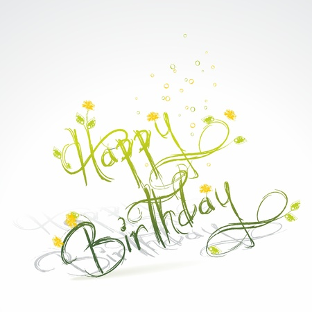 Birthday card with green grass and flowers Stock Vector - 10430877