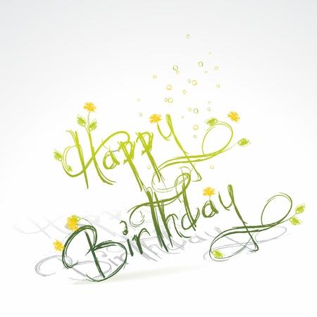 deseos: Felicitaci�n de cumplea�os con c�sped verde y flores