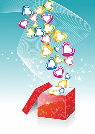 sunrays: Box With Hearts On Sunburst Background, Vector Illustration