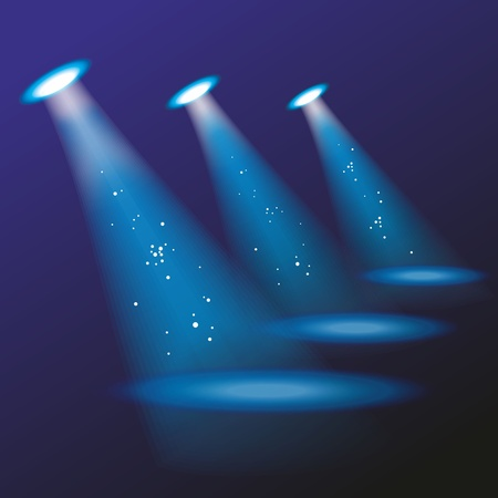 reflectors: Blue spotlights. Vector illustration.