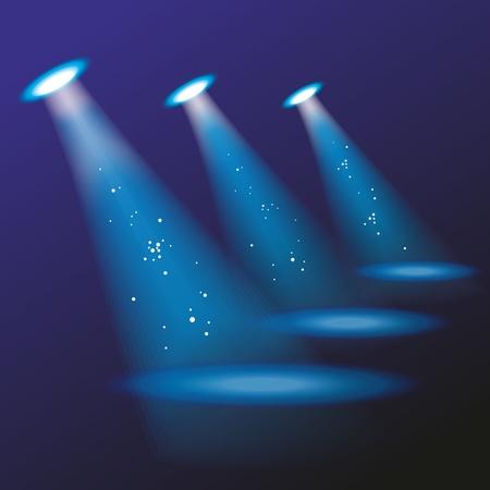 reflectors: Blue spotlights. Vector illustration.