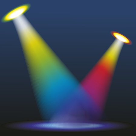 the energy center: Color spotlights. Vector illustration.
