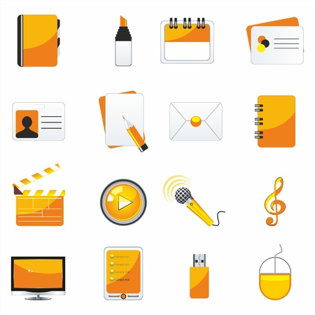 blue pen: web business & office icons, signs, vector illustrations