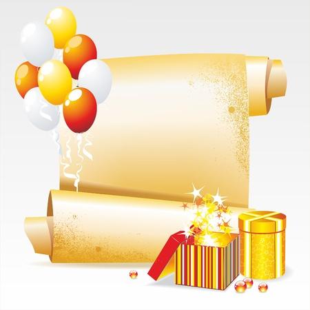 red and yellow card: Vector de fondo por sus felicitaciones. Banner con regalos y globos.