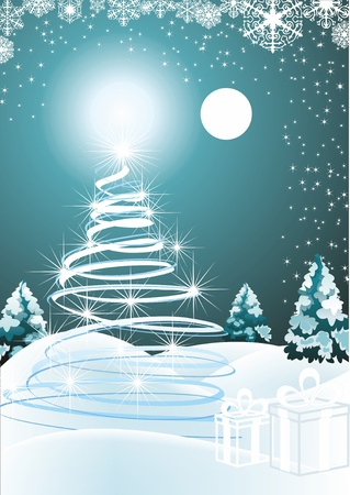 very realistic Christmas-tree in a snowing night  Vector