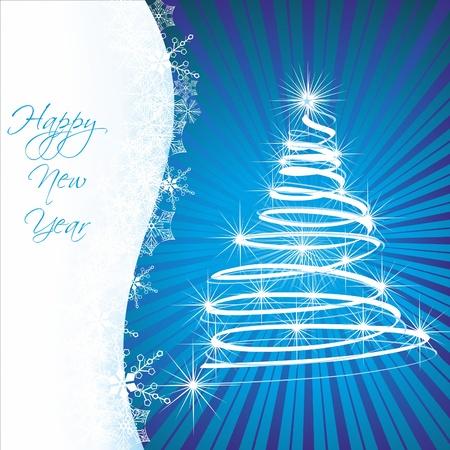 Weihnachten-Vorlage mit swirly Baum