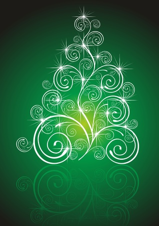 Christmas template with swirly tree Vector