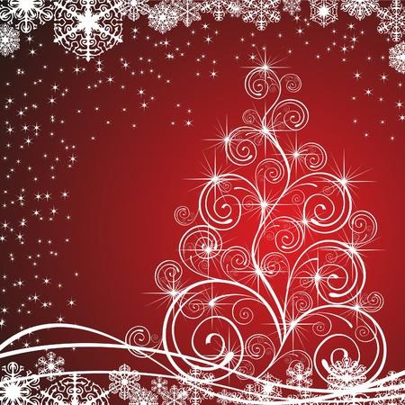 christmas template: Modello albero di Natale con swirly