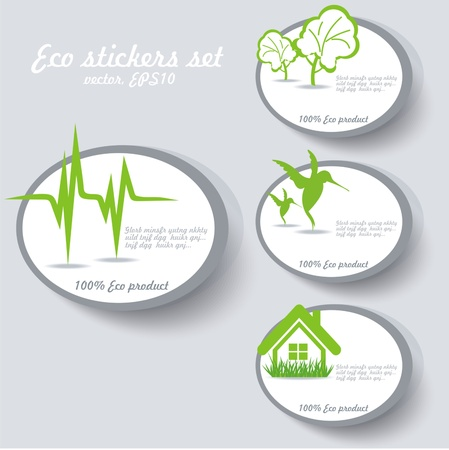Eco sticker collection Vector