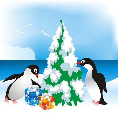 pinguinos navidenos: tarjeta de Navidad con pingüinos Vectores