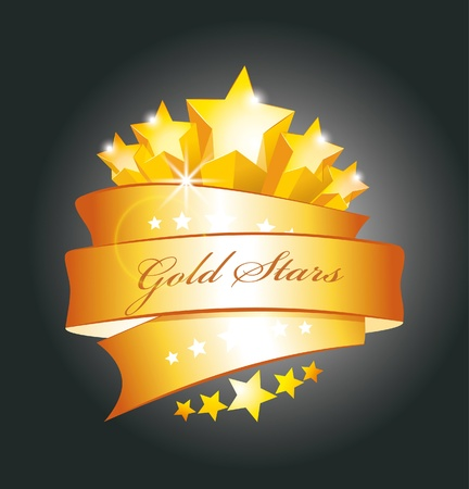 beautiful vector label sign with stars and gold ribbon  Vector