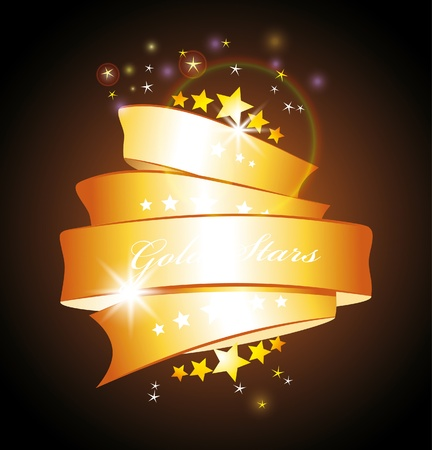 Beautiful label sign with stars and gold ribbon  Vector