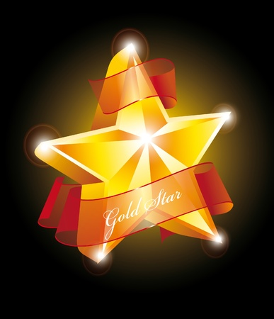 Beautiful golden label. Star with ribbon. Vector