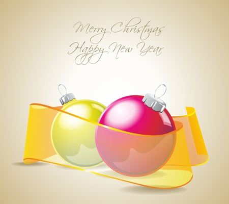 Christmas balls  with ribbons  Vector